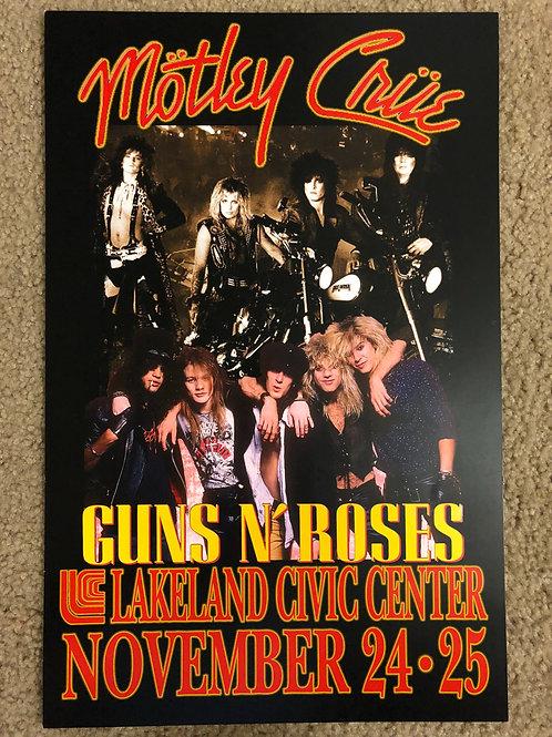Motley Crue Guns and Roses Lakeland (11x17)