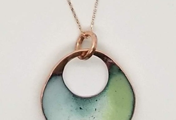 Enamel Copper Circle Pendant