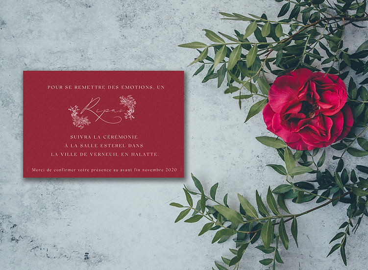 Invitation repas mariage Burgundy