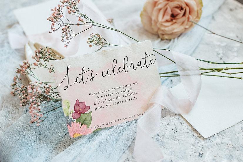 Invitation repas bouquet de fleurs