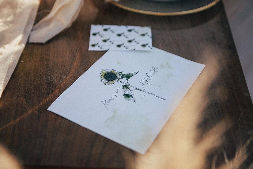Invitation repas mariage Sunflower