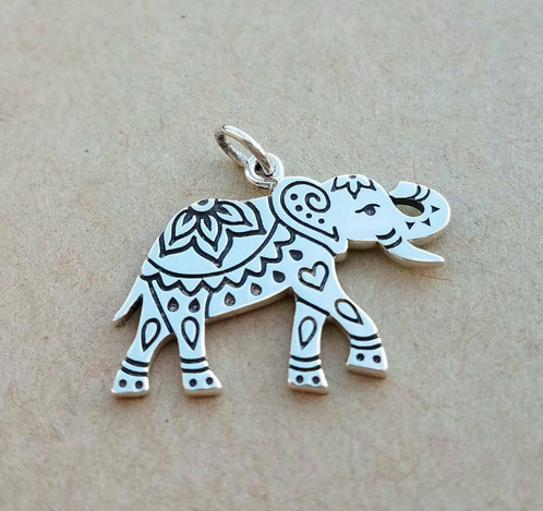 Etched sterling silver elephant pendant charm pendant sterling etched sterling silver elephant pendant charm pendant mozeypictures Image collections
