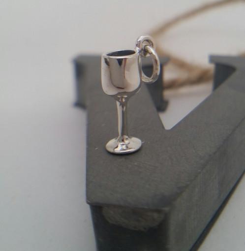 Sterling Silver Wine Gl Charm Bracelet Living Locket