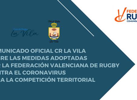 Comunicado oficial CR La Vila sobre medidas adoptadas FRCV contra el coronavirus para competiciones