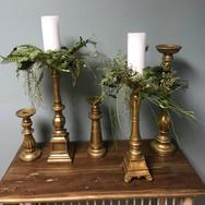 Assorted Large Gold Candlesticks