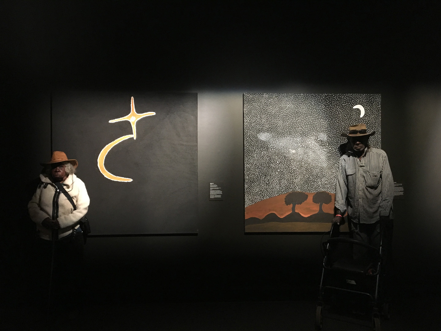 Mabel Juli and Rusty Peters with their works at Museum and Art Gallery of the Northern Territory, 2019