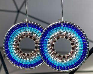 Ocean Blue and Copper Mandala Earrings, 2021