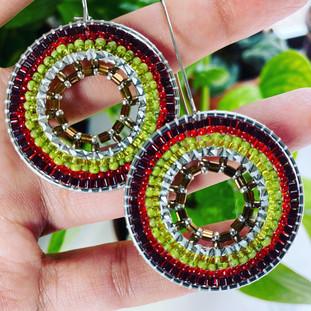 Ruby Red & Chartreuse Mandala Earrings, 2021