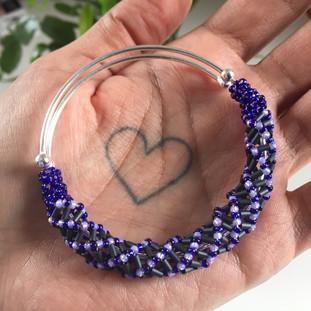 Black & Purple Adjustable Beaded Spiral Bangle, 2021