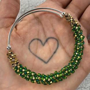 Gold & Green Adjustable Beaded Spiral Bangle, 2021