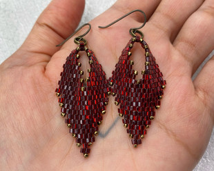 Ruby Red Earrings with Cube Beads, 2021