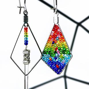 Asymmetrical Rainbow Earrings with Qwartz Wand, 2021