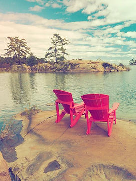 red arm chairs and scenery