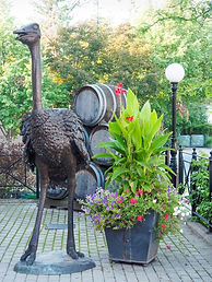 ostrich sculpture, Jordan Mews, Jordan, Ontario, Canada, wine barrels, flower planter