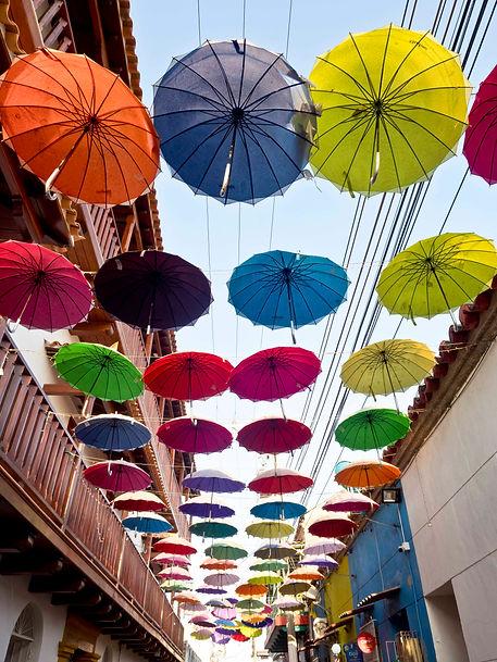 coloured overhead umbrellas, Getsemani, Juan Valdez coffee shop interior, Bocagrande, Cartagena, Colombia.jpg.jpg