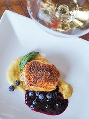 roast chicken, corn & thyme purée, strawberry blueberry BBQ sauce, Westcott Winery, Jordan, Ontario, Canada