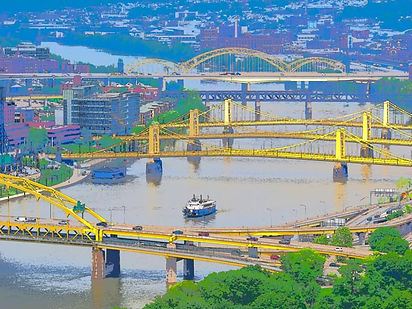 3 bridges named after PittsburghersRoberto Clemente, Andy Warhol and Rachel Carson.