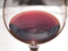 red wine in a glass, Featherstone Winery, Jordan, Ontario, Canada