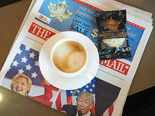 coffee, cookie and newspaper