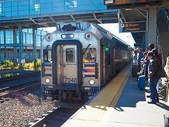 commuter train, airport station platform, New Jersey Transit