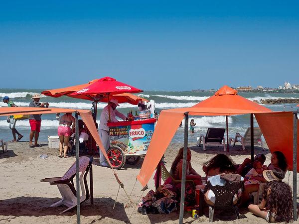 beach scene, Bocagrande, Juan Valdez coffee shop interior, Bocagrande, Cartagena, Colombia.jpg.jpg