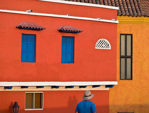 painted buildings, Juan Valdez coffee shop interior, Bocagrande, Cartagena, Colombia.jpg.jpg