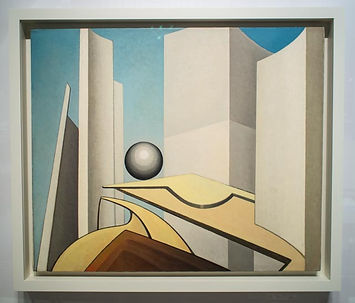 painting by Lawren Harris titled 'Poise (Composition 4)', AGO, Toronto, futuristic view of city hall