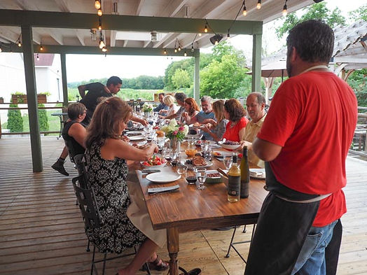 dinner feast, The Deck, Creekside Winery, Jordan, Ontario, Canada