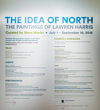 events schedule about painter Lawren Harris, AGO exhibit: The Idea of North