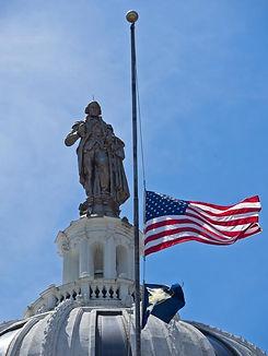 statue of George Washington, Memorial Day flag