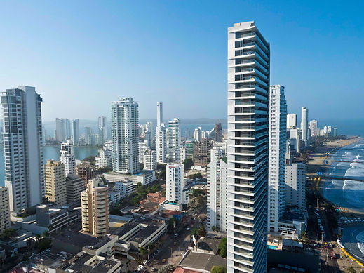 aerial view of Bocagrande Peninsula apartments and hotels, Cartagena, Colombia.jpg