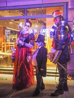 Post halloween parade poses, Greenwich Village NY NY USA