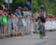 Linda Haycock on her Bicycle in the Pelotonia