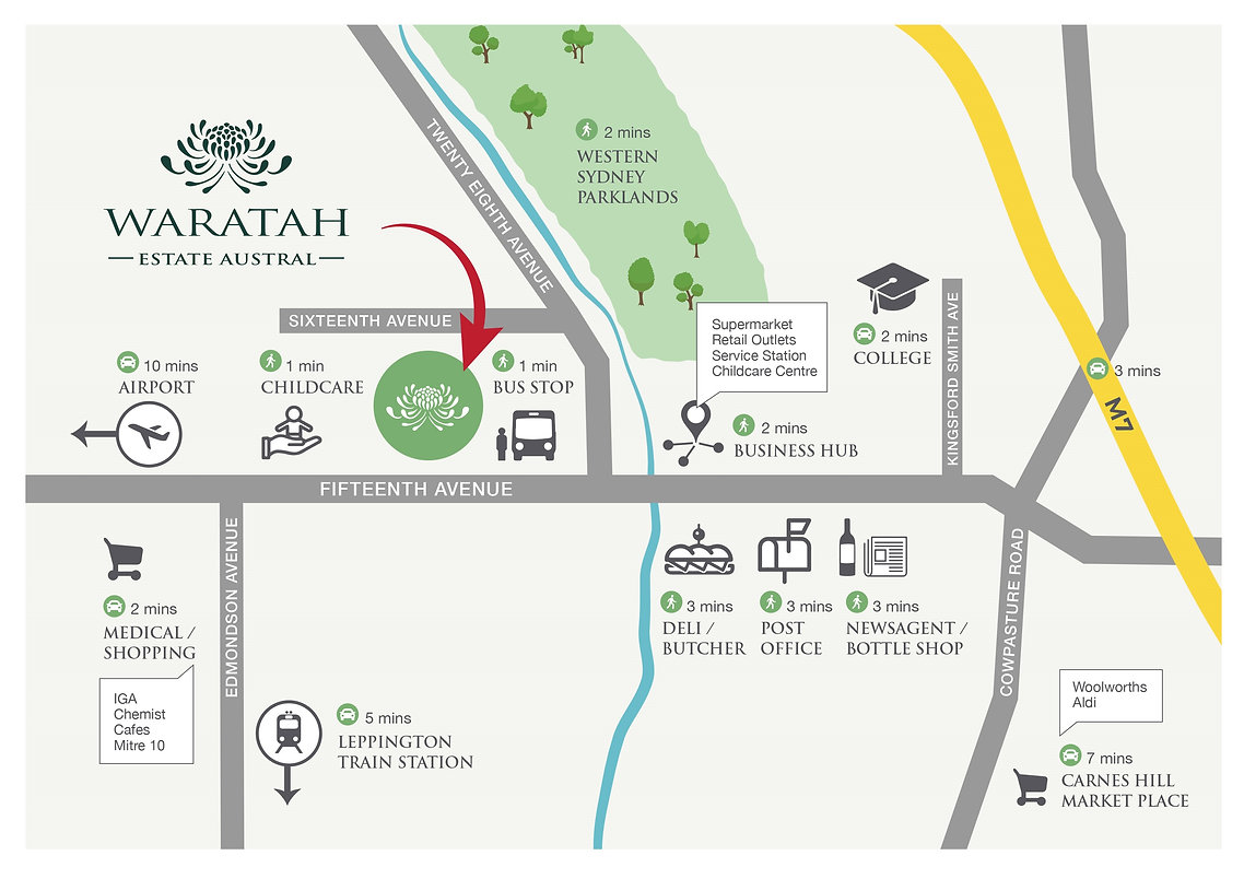 waratah estate austral location map transport shopping parklands