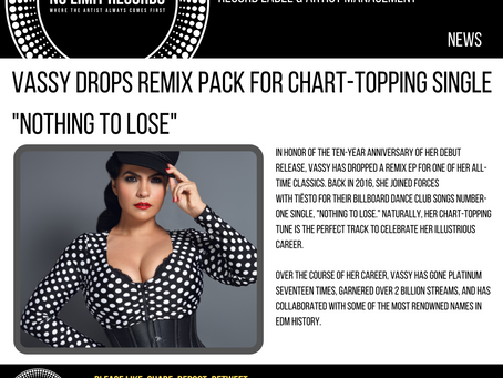 """VASSY DROPS REMIX PACK FOR CHART-TOPPING SINGLE """"NOTHING TO LOSE"""""""