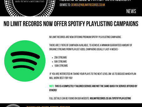 No limit records now offer spotify playlisting campaigns