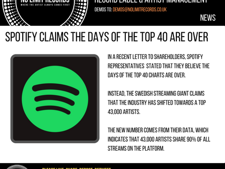 SPOTIFY CLAIMS THE DAYS OF THE TOP 40 ARE OVER
