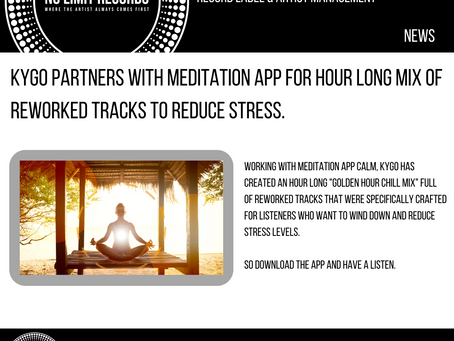 KYGO PARTNERS WITH MEDITATION APP FOR HOUR LONG MIX OF REWORKED TRACKS TO REDUCE STRESS.