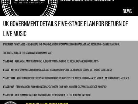 UK GOVERNMENT DETAILS FIVE-STAGE PLAN FOR RETURN OF LIVE MUSIC