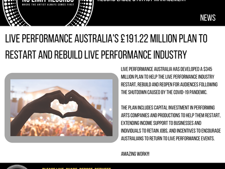 Live Performance Australia's £191.22 million plan to restart and rebuild live performance industry