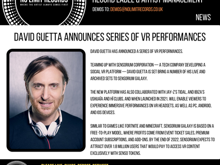 DAVID GUETTA ANNOUNCES SERIES OF VR PERFORMANCES