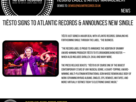 Tiësto Signs to Atlantic Records & Announces New Single