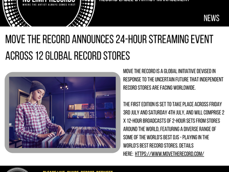 MOVE THE RECORD ANNOUNCES 24-HOUR STREAMING EVENT ACROSS 12 GLOBAL RECORD STORES