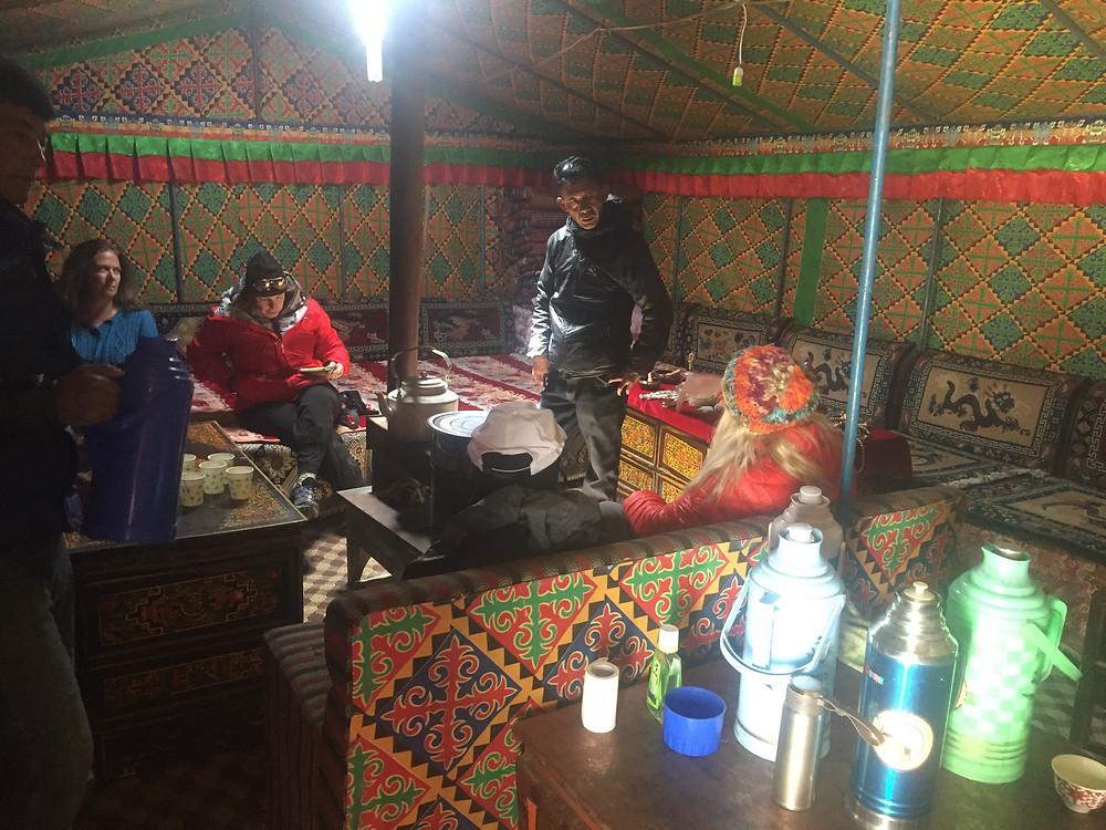 Inside at Tent Village, EBC Tibet