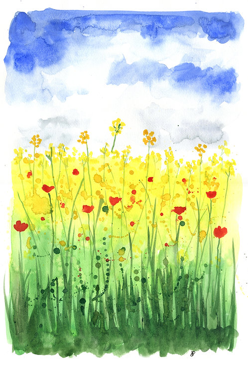 "Original artwork ""Rapeseed & Poppies"""