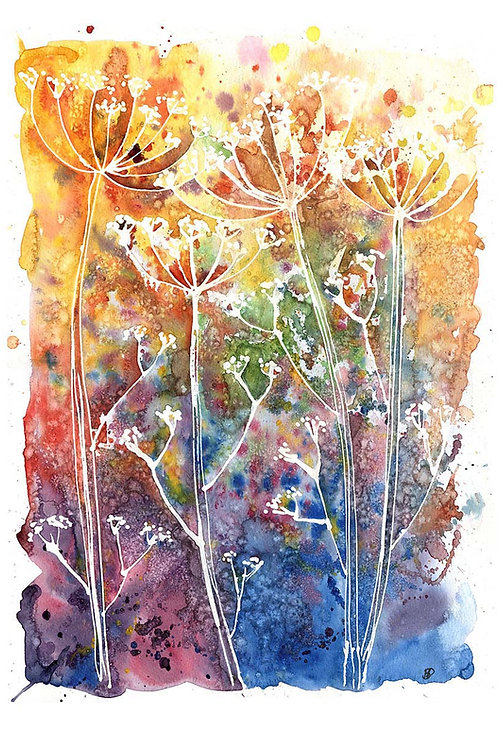 "Original artwork ""Rainbow Cow Parsley with Salt"""