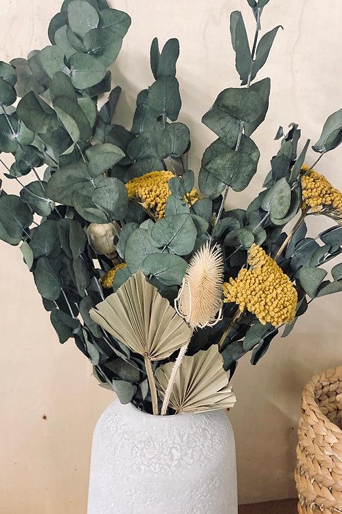 bouquet eucalyptus, pavot, chardon, achillé & feuille de palmier