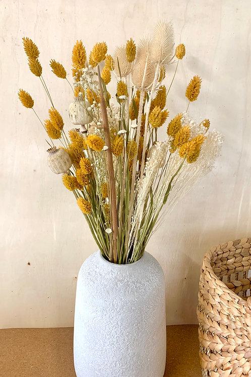 bouquet phalaris jaune, pavot, roseau & chardon