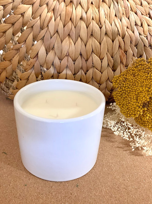 personalized white ceramic candle