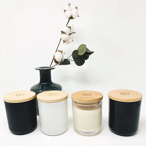 bougie en verre et couvercle en bois personnalisée